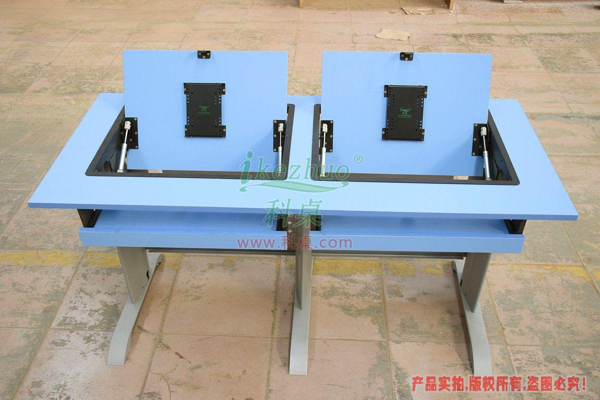 科桌家具,边框翻转器,翻转电脑桌,双人位金属脚架带边框翻转电脑桌K14-B