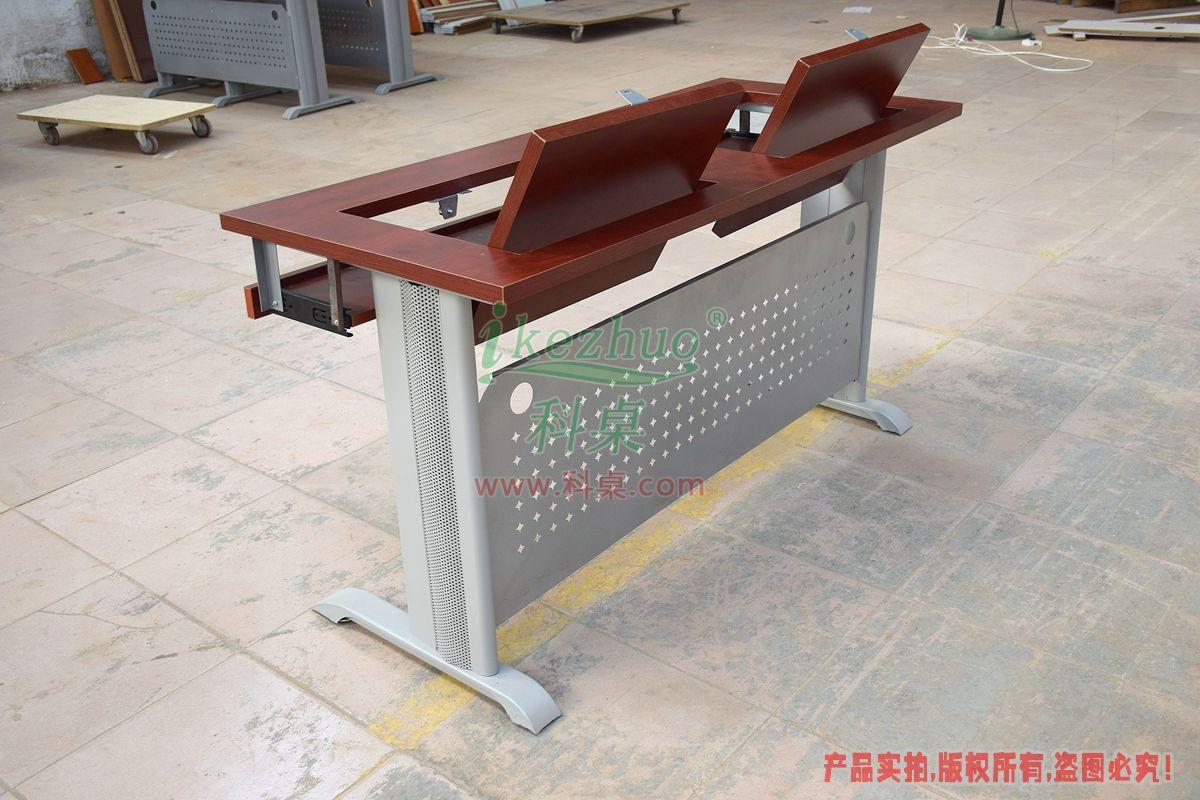 科桌家具,无边框翻转电脑桌,翻转电脑桌,双人位金属脚架无边框翻转电脑桌K14-B