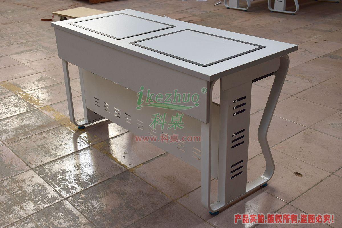 科桌家具,翻转电脑桌,双人电脑桌,双人位金属脚架带边框翻转电脑桌K16-C