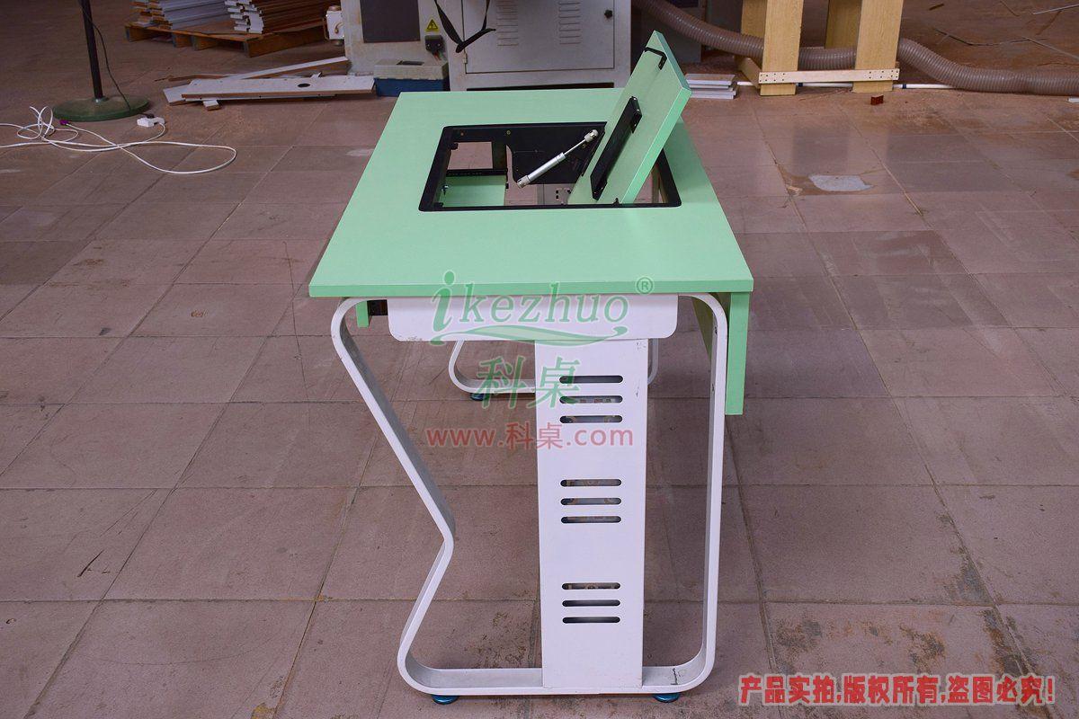 科桌家具,单人电脑桌,边框电脑桌,翻转电脑桌,单人位金属脚架带边框翻转电脑桌K12-C